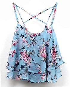 To find out about the Blue Spaghetti Strap Floral Chiffon Cami Top at SHEIN, part of our latest Tank Tops & Camis ready to shop online today! Chiffon Cami Tops, Floral Chiffon, Chiffon Shirt, Chiffon Fabric, Floral Tops, Layering Tank Tops, Layering Shirts, Crop Shirt, Crop Tank