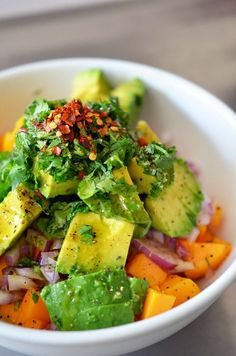 2 cups diced ripe mango (about 2 mangos) ½ cup finely diced red onion 1 cup diced Hass avocado (1 medium avocado) ¼ cup minced fresh cilantro 2 tablespoons extra virgin olive oil freshly ground black pepper big pinch of kosher salt ¼ teaspoon red pepper flakes Juice from 1 lime