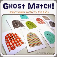 Fun and easy Halloween activity for kids. Ghost Matching Game with fabric scraps or scrapbook paper Halloween Theme Preschool, Halloween Activities For Kids, Activities For Boys, Fall Preschool, Holiday Activities, Craft Activities, Halloween Themes, Halloween Crafts, Activity Ideas