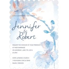 dusty blue and peach watercolor wedding invitations with bracket shaped version EWIb376