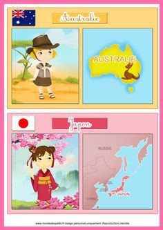 Fiche éducative pour les enfants sur les pays cartes à imprimer Japan For Kids, Around The World Theme, Countries And Flags, World Thinking Day, World Crafts, Montessori Materials, Teaching French, Childhood Education, Pre School