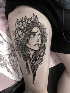 Woman flower tattoo by Chestnut tattoo