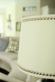 Lamp shade with studs.