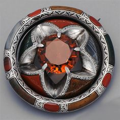 Victorian Jewelry Scottish Agate Brooch About 1850 - 1860 Cinquefoil petal flower - with round faceted citrine.
