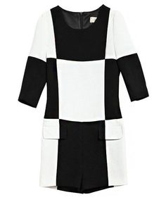 White and Black Color Block Jumpsuits with Cropped Sleeve Top and Shorts