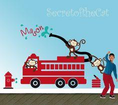 Nursery+wall+decal++monkeys+decal++firefighter+by+secretofthecat,+$88.00