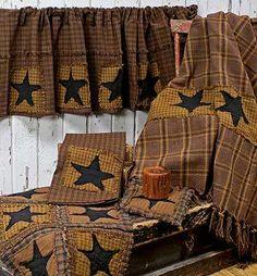 Primitive Star Patchwork Valance - Curtains - Primitive Decor