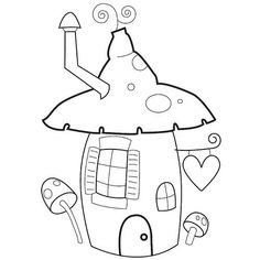 mushroom shaped pixie house(use clay covered straw for chimney Quilt Block Patterns, Applique Patterns, Embroidery Applique, Cross Stitch Embroidery, Quilt Blocks, Embroidery Designs, Colouring Pages, Coloring Books, Motifs D'appliques