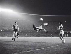 Pele's famous bicycle kick at Maracana Stadium in Rio de Janeiro, 1965.