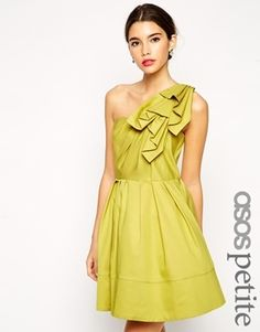 ASOS Petite ASOS PETITE One Shoulder Origami Ultra Full Skater Dress - Lime