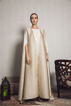 Our most luxurious look for this Ramadan, A metallic brocade cape with beige crepe side panels and crepe sleevel Abaya Fashion, Muslim Fashion, Modest Fashion, Runway Fashion, Fashion Outfits, Fashion Clothes, Abaya Style, Hijab Style, Hijab Fashionista