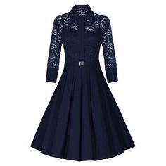 Fashion Lapel Hollow Out 3/4 Sleeve A-Line Knee-Length Dress