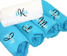 Initial Plus Name Personalized Spa Wraps in Cotton Waffle Weave - Monogrammed Bath Wraps - Waffle Weave Spa Wrap by PremiereEmbroidery on Etsy https://www.etsy.com/listing/171388965/initial-plus-name-personalized-spa-wraps