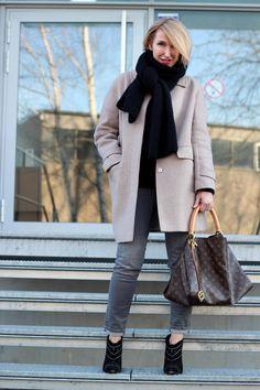 A fashion blog for women ove 40 and mature women  Coat: Strenesse Scarf: Neyo-Fashion Pants: Zara Booties: Anine Bing Bag: Louis Vuitton