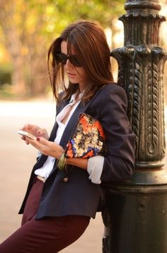 jacket, shirt, purse, bracelet