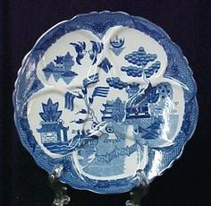 Blue Willow China Oyster Plate Serving Dish Tray