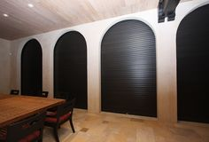 Our custom rolling hurricane shutters are hinged louver panels that roll up or down, manually or automatically, and are stored in an above enclosure. Roll Down Hurricane Shutters, Backyard Kitchen, Comfort Design, Future House, Beach House, Category 5, Sweet Home, Rolls, House Design