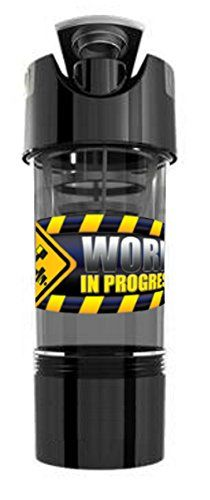 Work In Progress High Intensity PrePost Workout Shaker Bottle with Storage Compartment Gotham Black -- Visit the image link more details.