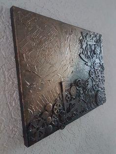 Mischtechnik+Kunst+Bild+Unikat+Steampunk+Vintage+Acryl+Abstrakt+Steam+30x40+cm