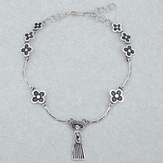 Sterling silver pendant choker necklace, 'Catrina and the Flowers' - Catrina Silver Choker Day of the Dead Jewelry Collection