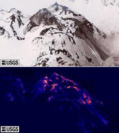 Infrared image of Mount St. Helens, Washington. Julie Griswold and Matt Logan. USGS