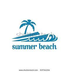 summer beach logo in blue theme