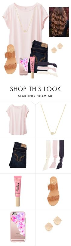 """QOTD!"" by raquate1232 ❤ liked on Polyvore featuring Uniqlo, Kendra Scott, Hollister Co., Splendid, Jack Rogers, Casetify and Kate Spade"