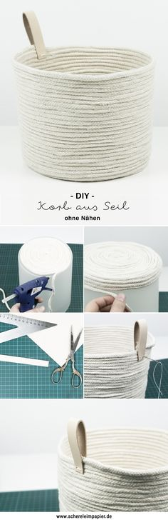 DIY basket of rope and leather - Diy Fabric Jewelry Box Plans, Diy Glue, Green Basket, Home Decor Baskets, Diy Accessoires, Diy Inspiration, Diy Box, Jewellery Storage, Diy Jewelry