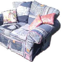 I have a couch and love seat that I'm currently recovering with old denim. Am excited. Previous pinner posted: funky and fun furniture - denim patchwork chair looks might comfy!