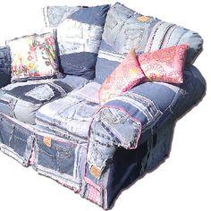 funky and fun furniture - denim patchwork chair