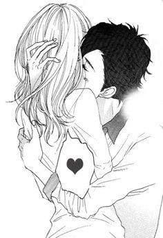 Monochrome, Black and white, Boy, Girl, cool, Sad, Anime, Manga, Art, Love, Kiss, Hug