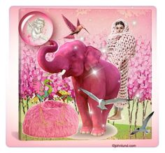 """pink elephant in my dreams..."" by buddahbar ❤ liked on Polyvore featuring art"