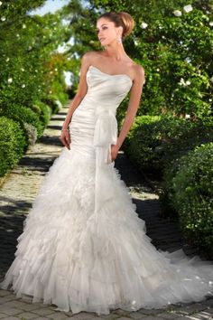 Sleek Tiered Fit and Flare Strapless Satin Organza Wedding Dress JSWD0272