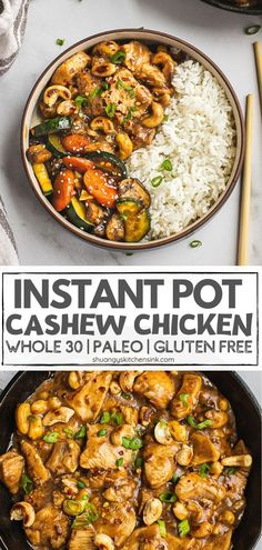 This instant pot cashew chicken tastes better than our favorite Chinese takeout but much healthier. It is Paleo, gluten-free friendly. Whole 30 Chicken Recipes, Paleo Chicken Recipes, Easy Chicken Dinner Recipes, Instant Pot Dinner Recipes, Easy Healthy Recipes, Cashew Chicken, Instantpot Chicken Recipes, Gluten Free Recipes Instant Pot, Healthy Crockpot Dinners