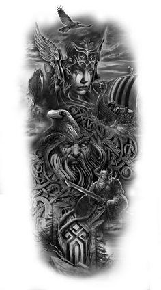 Your Design Personalized Temporary Tattoos – Fake tattoo – Norse Mythology-Vikings-Tattoo Fake Tattoos, Body Art Tattoos, Tattoos For Guys, Viking Tattoos For Men, Best Sleeve Tattoos, Tattoo Sleeve Designs, Tattoo Odin, Art Viking, Norse Mythology Tattoo