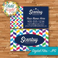 Scentsy consultant business cards elegant look by mycrazydesigns authorized scentsy vendor business cards custom business card rainbow chevron personalized cards print your own on vistaprint reheart Image collections