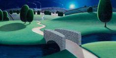"Paul Corfield  The Old Stone Bridge - Oils 12"" x 24"""