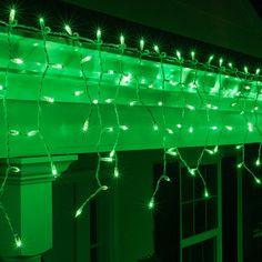 150 Green Mini Icicle Light Set, White Wire