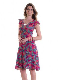 *Catálogo - Vestido estampado com manga godê