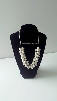 Hey, I found this really awesome Etsy listing at https://www.etsy.com/listing/237876971/white-necklacestatement-necklacechunky