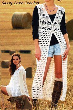 Designer Bohemian Vest Crochet PATTERN, Lace Vest 30-44 inch chest Pineapple  Long waistcoat Sleeveless Hippy Vest-PDF Download by SassyloveCrochet on Etsy