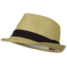 Solid Band Summer Straw Fedora - Khaki Black W20S58B at Amazon Men s  Clothing store  Fedora Hat bbdccf092a1c