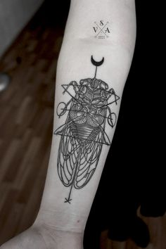fucking awesome geometric bug tattoo