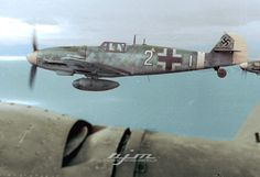 "Bf 109 G-6/Trop W.Nr. 14. ... ""Weisse2"", Lt. Josef Emil Clade, 7./JG 27, whilst escorting the He 111 H transporting Gen. Fiebig and Holle to Crete, December 1943."