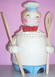 Rare Vintage Davar Campbel Kid Nodder cookie jar with spoons on Collectors Quest