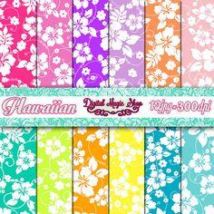 Luau Hawaiian digital paper    12pcs 300dpi by DigitalMagicShop