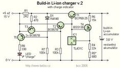 Build-in Li-ion accu charger - new version Simple Electronics, Electronics Projects, Battery Charger Circuit, Analog Devices, Dc Circuit, Electronic Workbench, Electronic Circuit Projects, Electronic Schematics, Mobile Phone Repair