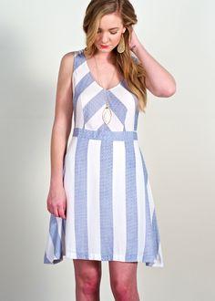 Sailor stripe dress; light blue & white geometric stripe sleeveless dress, fit & flare dress featuring front & back deep v-neck neckline, striped sleeveless dress, work to weekend striped dress.