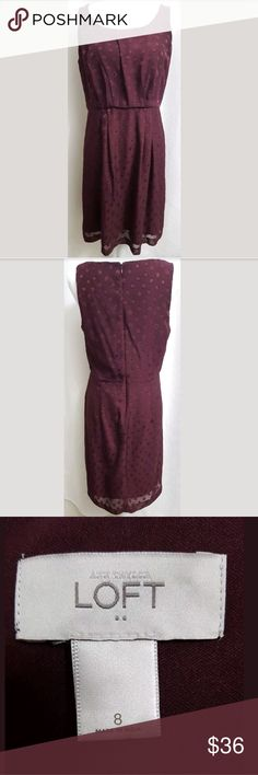 """Ann Taylor Loft Maroon Sleeveless Empire Dress 8 This is a Ann Taylor Loft Maroon Sleeveless Empire Dress sz 8. There are no snags, holes, or flaws.   Measurements: (when laid flat) Armpit to armpit: 17"""" Top of shoulder to bottom: 37""""  Inventory #: BB LOFT Dresses Midi"""