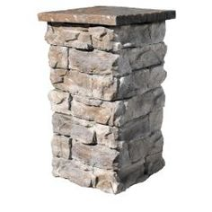 Found my easy stacked stone column for front porch.   Fossill Stone Fossil Stone Brown 36 in. Outdoor Decorative Column